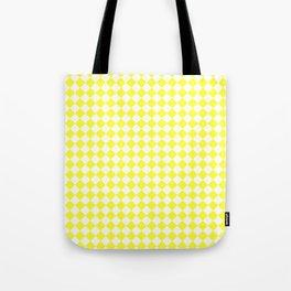 White and Electric Yellow Diamonds Tote Bag