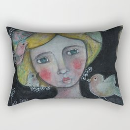 Lady with Flying Thoughts Rectangular Pillow