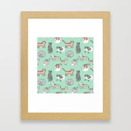 Cat pattern cute nursery cat lady kittens by andrea lauren Framed Art Print