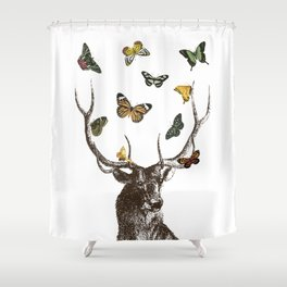 The Stag and Butterflies | Deer and Butterflies | Vintage Stag | Vintage Deer | Antlers | Woodland | Shower Curtain