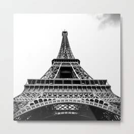 Eiffel Tower in Paris, Black and White (France, Europe) Metal Print