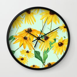 yellow sun choke flower 2 Wall Clock