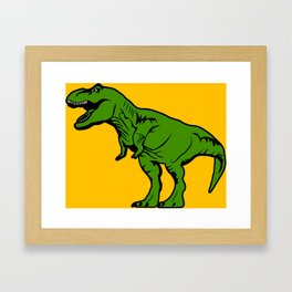 Green T-Rex Dinosaur On Yellow Kids Decor Design Framed Art Print