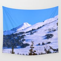 skiing Wall Tapestries featuring Back-Country Skiing  - IV by Alaskan Momma Bear
