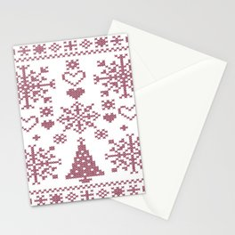 Christmas Cross Stitch Embroidery Sampler Pink And White Stationery Cards