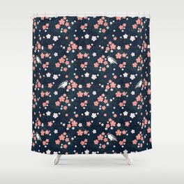 Navy blue cherry blossom finch Shower Curtain