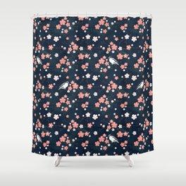 Navy blue cherry blossom finch Shower Curtain