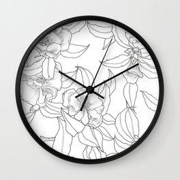 Flower Outline Wall Clock