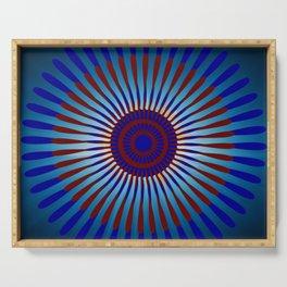 Mandala Sunrise in Maroon and Blue Serving Tray