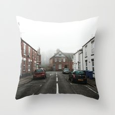 Foggy day in Derby Throw Pillow