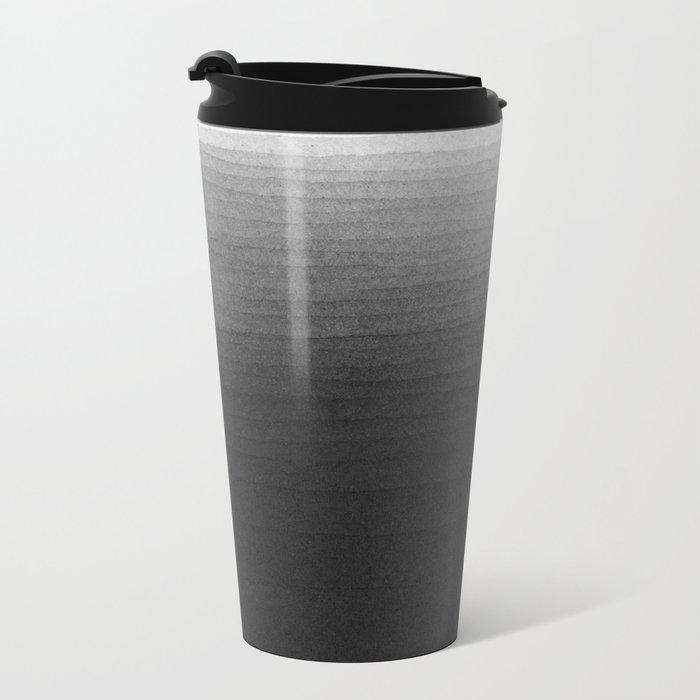 Black and White Ink Gradient Metal Travel Mug