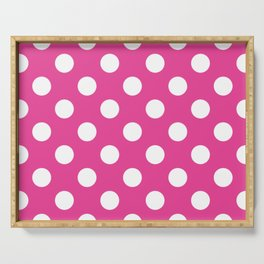 Barbie Pink - pink - White Polka Dots - Pois Pattern Serving Tray