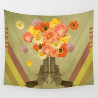guns Wall Tapestries featuring In my world, flowers come out of guns by AmDuf
