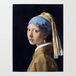 Girl with a Pearl Earring, classic painting Poster