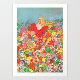 Blending with flowers Art Print
