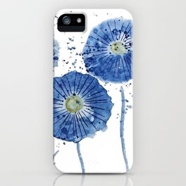 four blue dandelions watercolor iPhone Case
