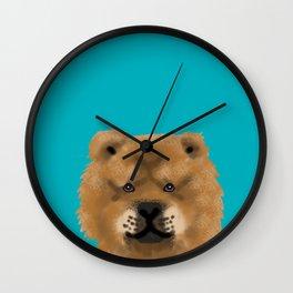 Chow Chow pet portrait custom dog art dog breeds by pet friendly Wall Clock