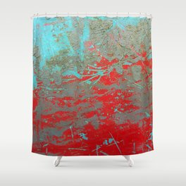 texture - aqua and red paint Shower Curtain