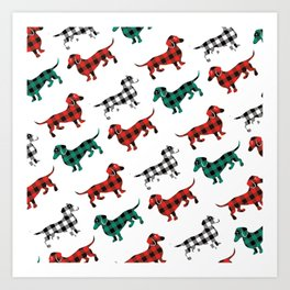 Christmas Dachshunds Red Flannel Art Print