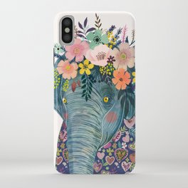 Elephant with flowers on head iPhone Case