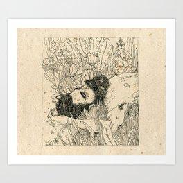 Drowning in foxdowns. Art Print
