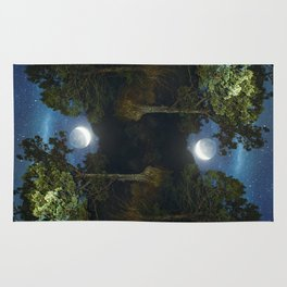 Moonset in coniferous forest Rug