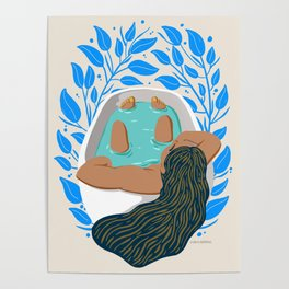 Bathtime with Blue FLorals Poster