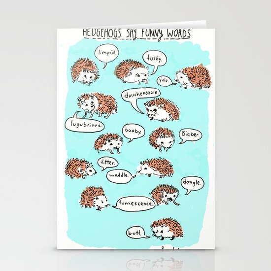 Hedgehogs Say Funny Things Stationery Cards