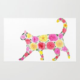 Cat Silhouette with flowers Rug