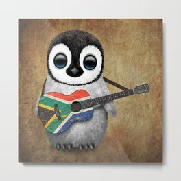 Baby Penguin Playing South African Flag Guitar Metal Print
