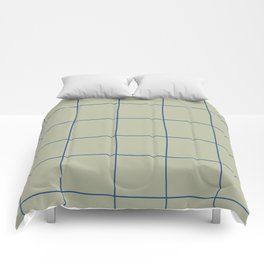 Simple Grid Green Blue Comforters