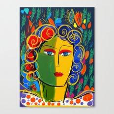 The Green Yellow Pop Girl Portrait Canvas Print