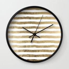 White faux gold elegant modern striped pattern Wall Clock