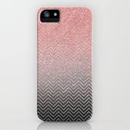 Blush chic pink  silver faux glitter geometrical iPhone Case