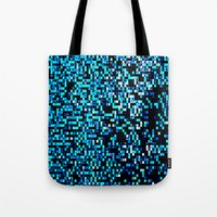 pixel Tote Bags featuring Turquoise Blue Aqua Black Pixels by 2sweet4words Designs