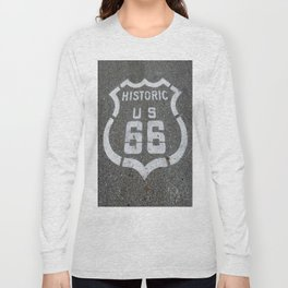 Route 66 sign on the road Long Sleeve T-shirt