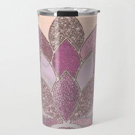 Elegant Glamorous Pink Rose Gold Lotus Flower Travel Mug