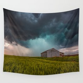 Rainy Day - Storm Passes Behind Barn in Southwest Oklahoma Wall Tapestry