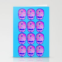 sugar skulls Stationery Cards featuring Sugar Skulls by Bex Parker