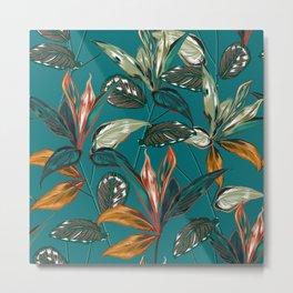 teal rubber plants Metal Print