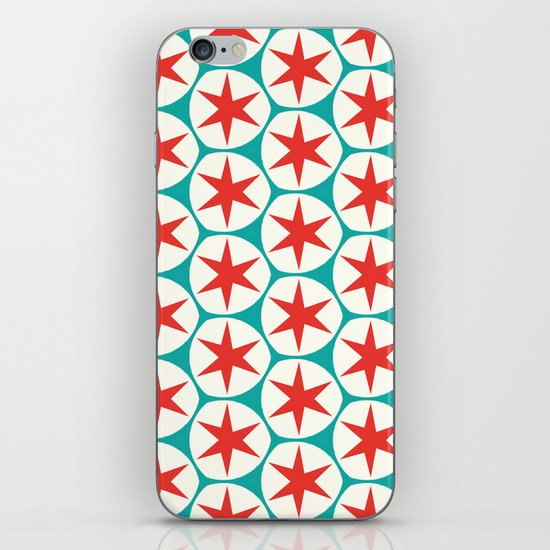 Retro Red Stars Pattern iPhone & iPod Skin