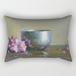 Pink and Silver Rectangular Pillow