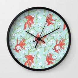 Goldfish, Mask and Magnolia Pattern Wall Clock