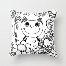 Stripy Cuties - Cat Throw Pillow