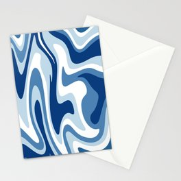 Mid Century Modern Liquid Abstract // Denim Blue and White Ocean Waves Stationery Cards