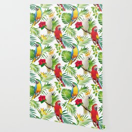 Seamless pattern of parrots Wallpaper