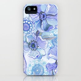 Lil' Garden Party in Blue iPhone Case