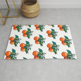 Oranges and Orange Blossom California Citrus Pattern Painting on White Rug