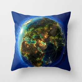 Global Lines Throw Pillow