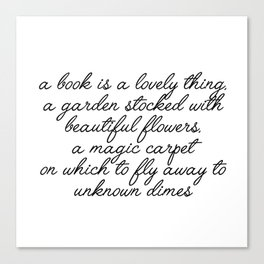 a book is a lovely thing Canvas Print
